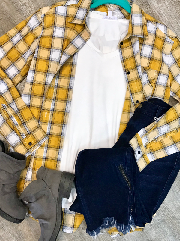 Mustard Plaid Shirt Curvy