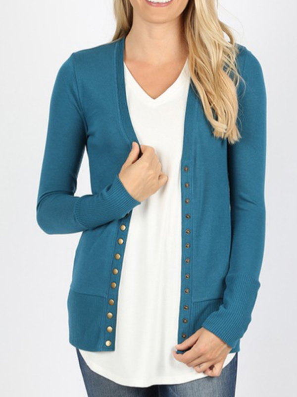 Snap Front Cardigan - Teal