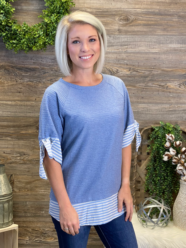 Denim Striped Contrast Raglan Top
