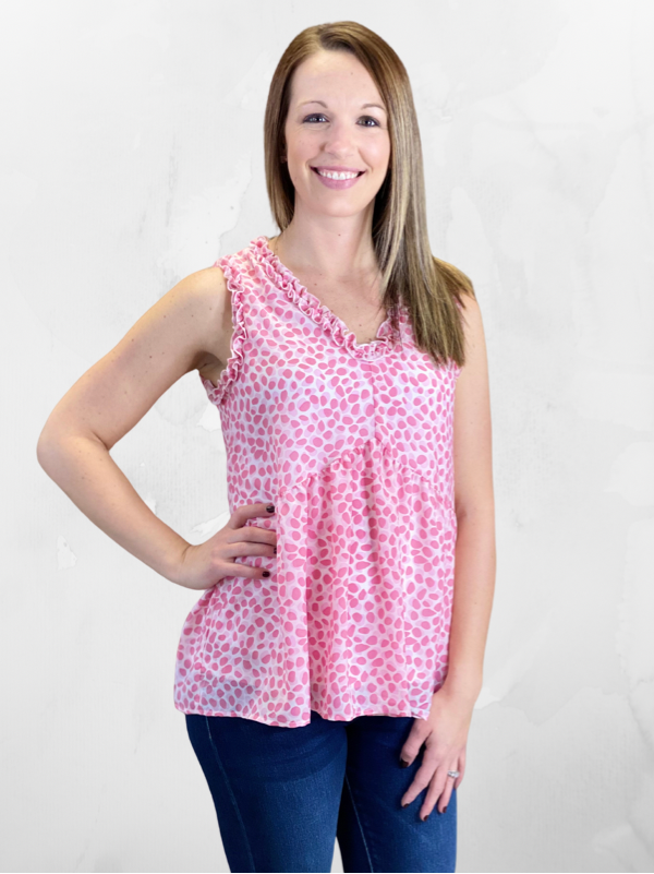 Pink Babydoll Spotted Dot Print Tank