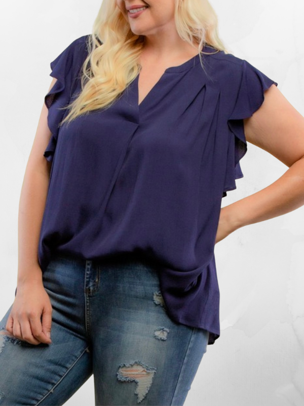 Navy Ruffle Detail Blouse