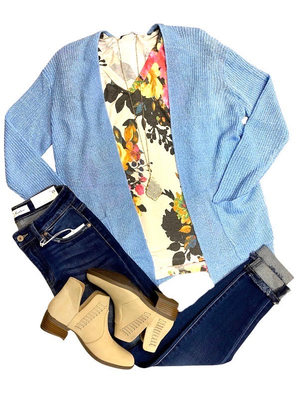 Chambray Open Front Cardigan