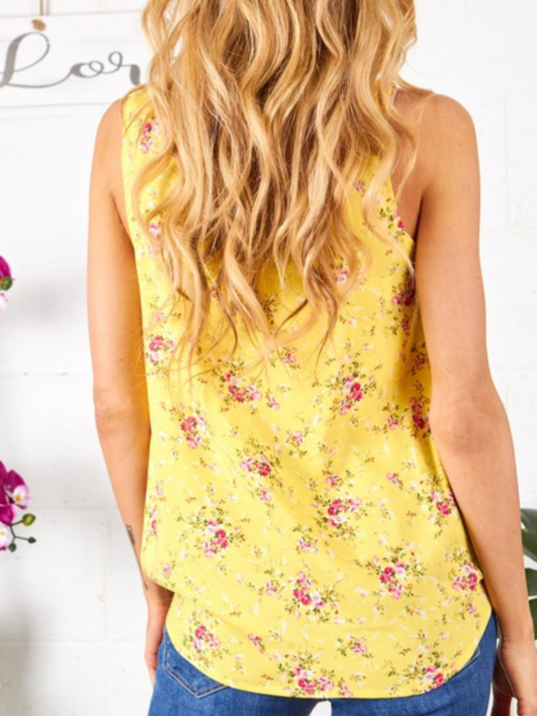 Yellow Woven Floral Tank (Curvy)