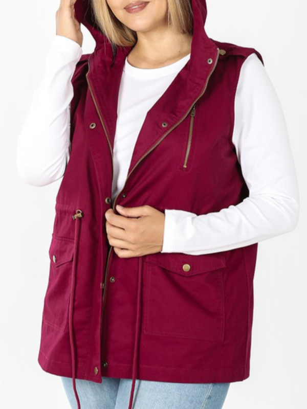 Military Hooded Vest - Cabernet