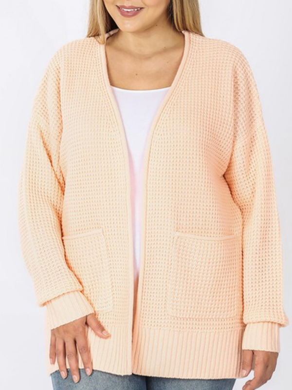Waffle Open Cardigan Curvy (3 Colors)