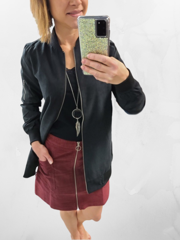 Wine Cordury Zip Up Mini Skirt
