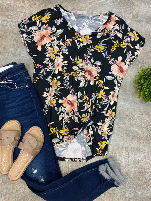 Black Floral Side Knot Tee