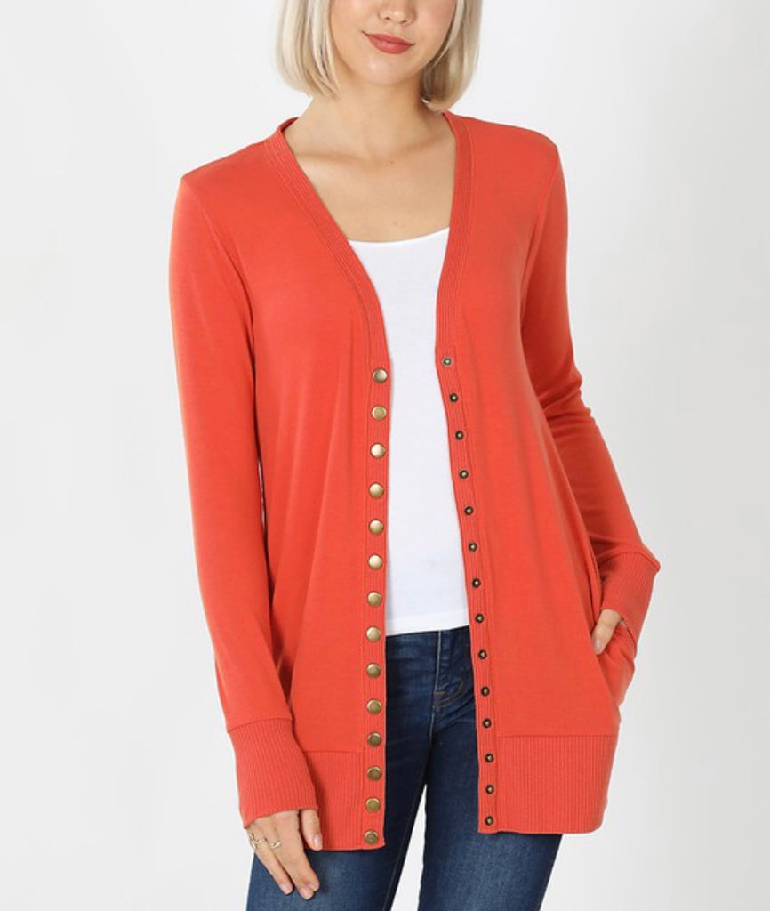 Snap Front Cardigan with Side Pockets - Ash Copper