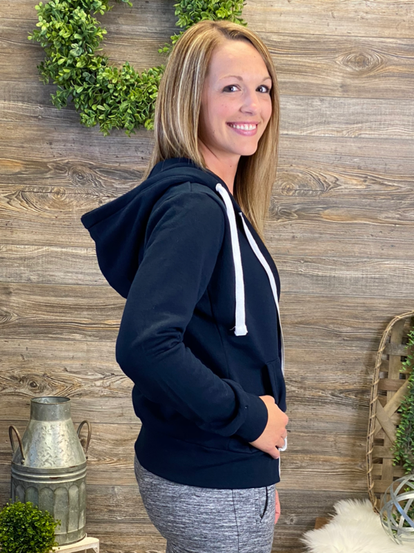 Navy Fleece Zip-Up Hoodie