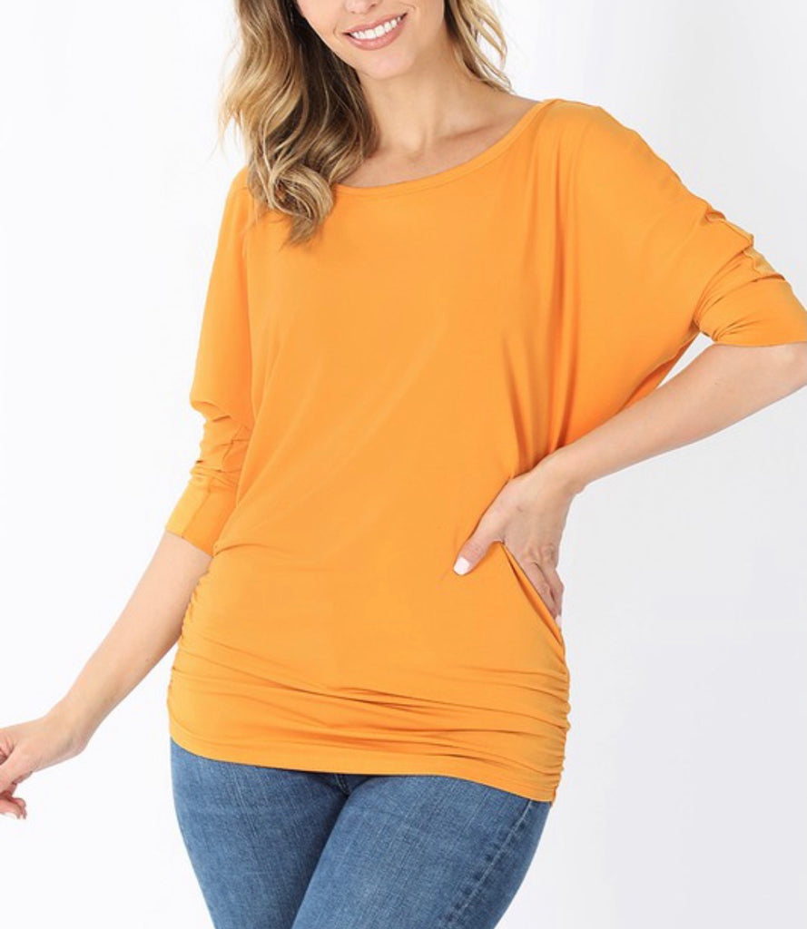 Solid Boat Neck Dolman 3/4 Sleeve Top