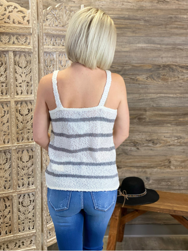 Ivory & Grey Striped Tank Sweater Top