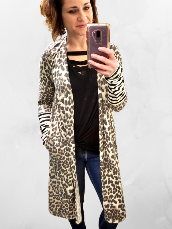 Brown Leopard Midi Cardigan