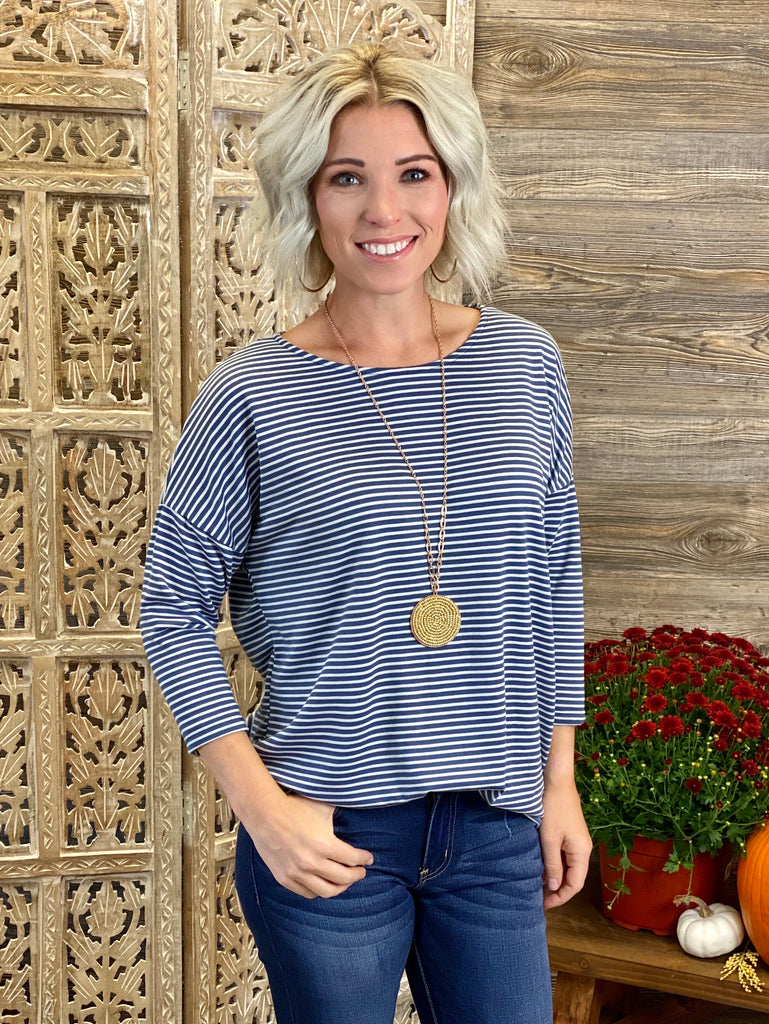 Denim Loose Stripe Top