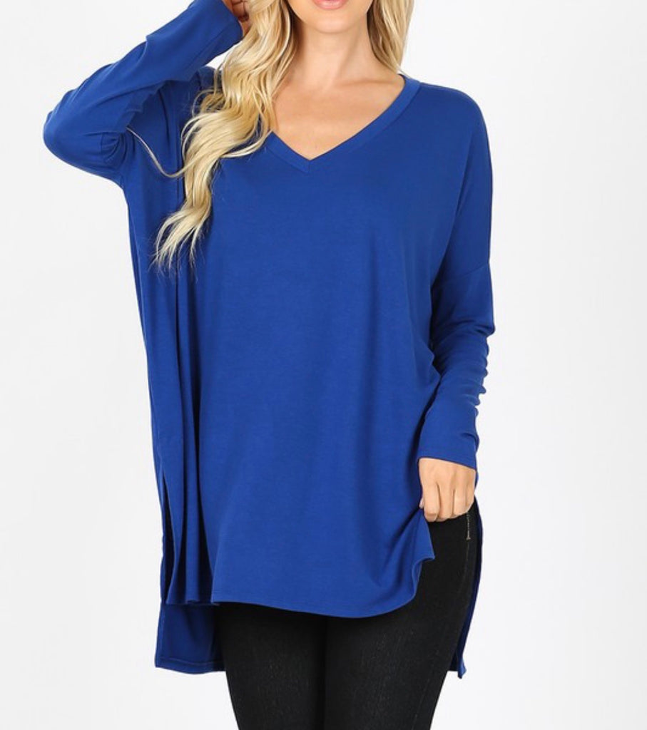 Solid Dolman V Neck Long Sleeve Curvy - (Multiple Options)
