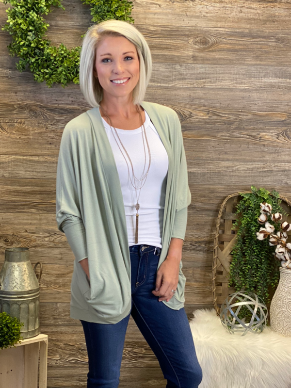 Easy Living Cardigan - Light Sage