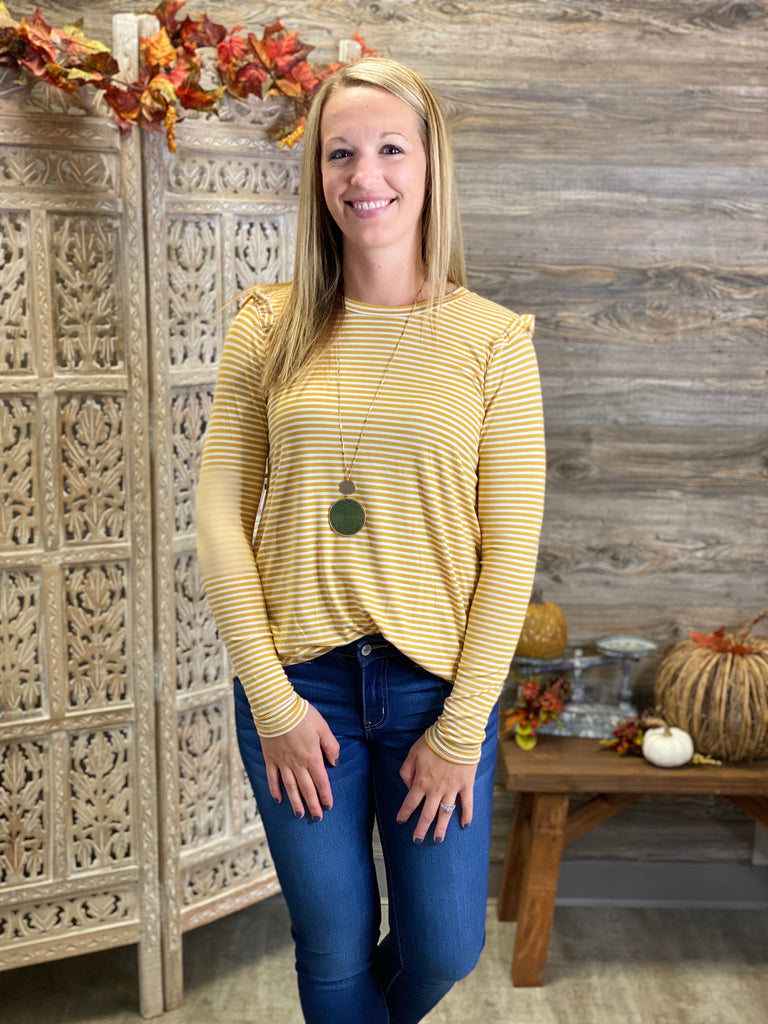 Mustard Striped Top with Matching Face Mask