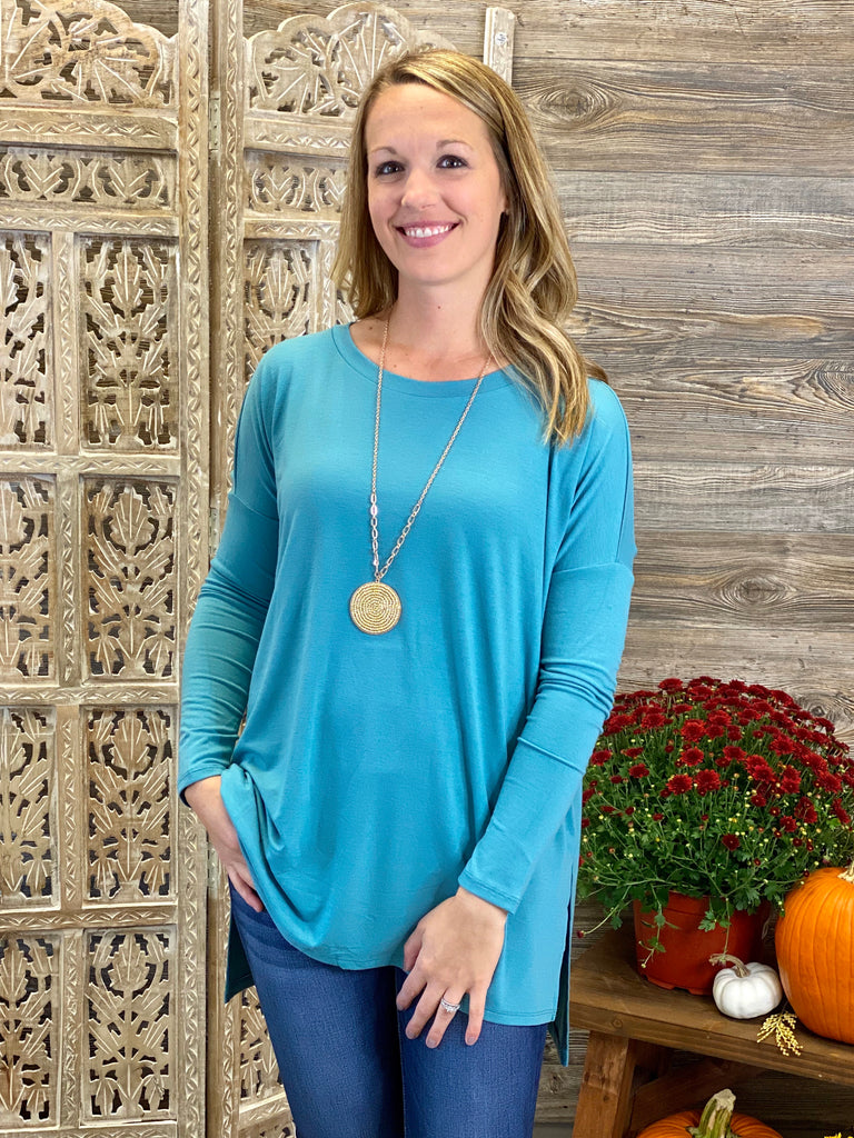 Dusty Teal Dolman Long Sleeve Top