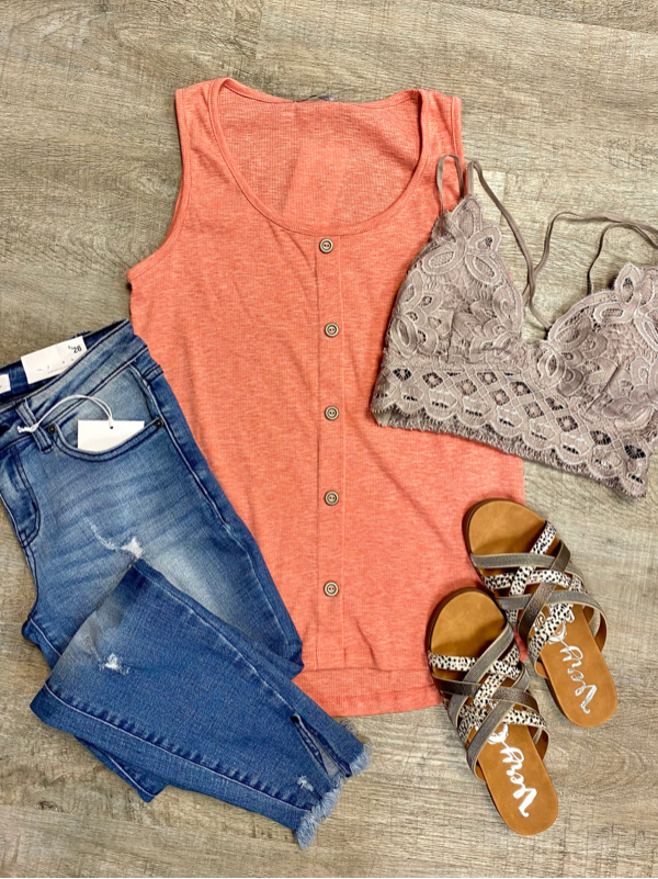 Coral Button Down Front Tank