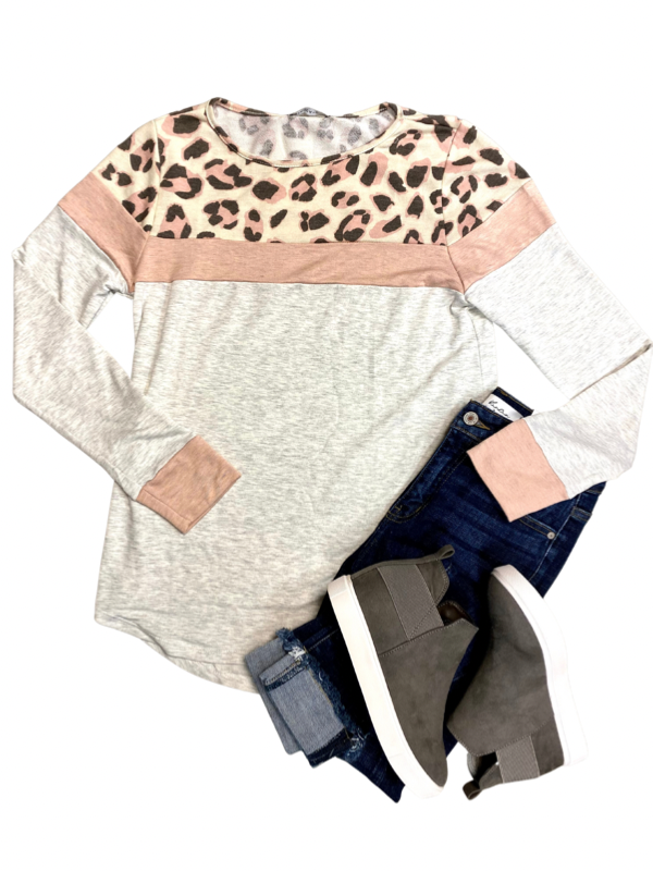 Light Oatmeal Leopard Print Colorblock Long Sleeve Top