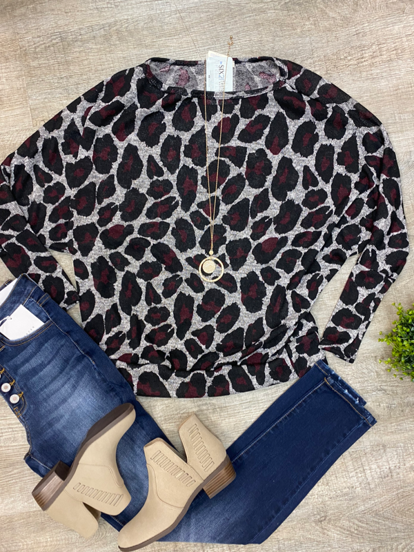 Grey & Wine Leopard Print Tunic