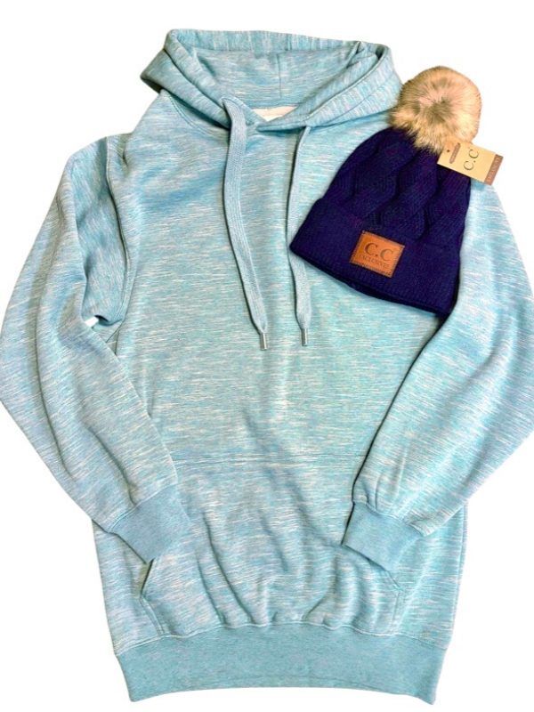 Marled Smoky Blue Fleece Oversized Hoodie Tunic