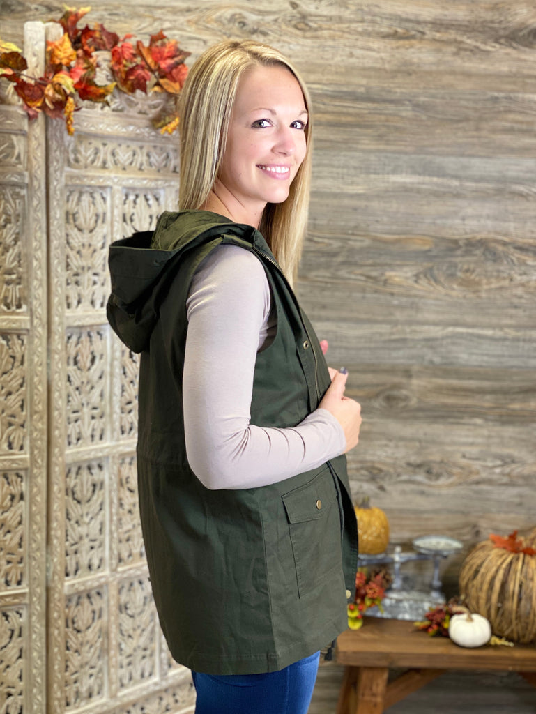 Military Hooded Vest - Dark Olive