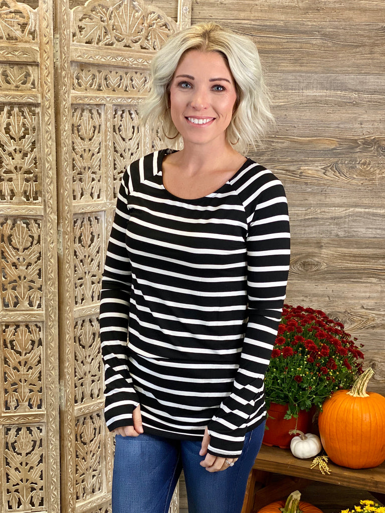Black & Ivory Striped Tunic Top