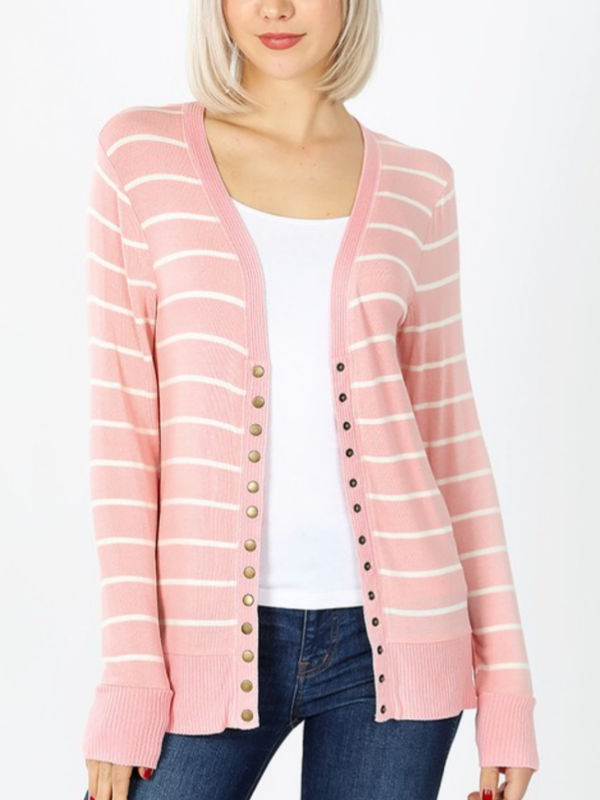 Striped Snap Front Cardigan - Dusty Pink/Ivory