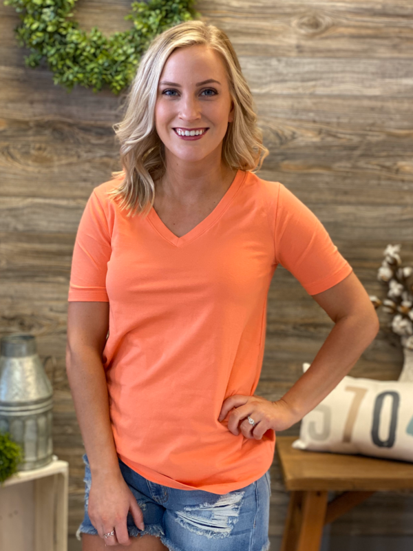 Cotton V Neck Tee (Multiple Colors)