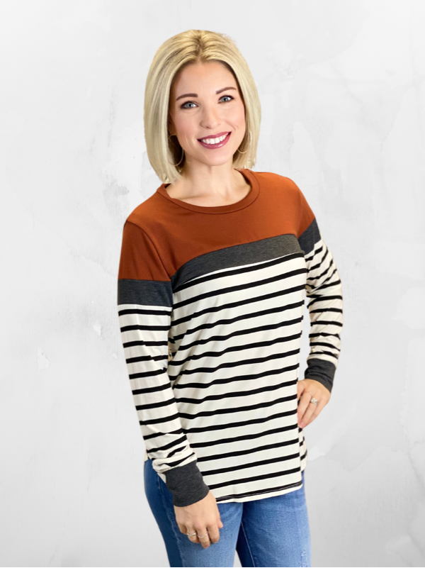 Rust Long Sleeve Colorblock & Stripe Top
