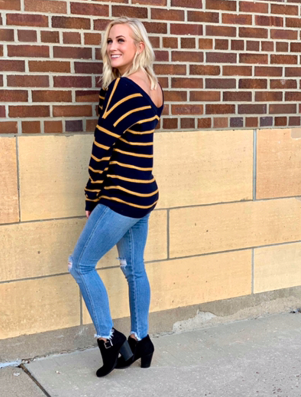 Navy Sweater with Mustard Stripes