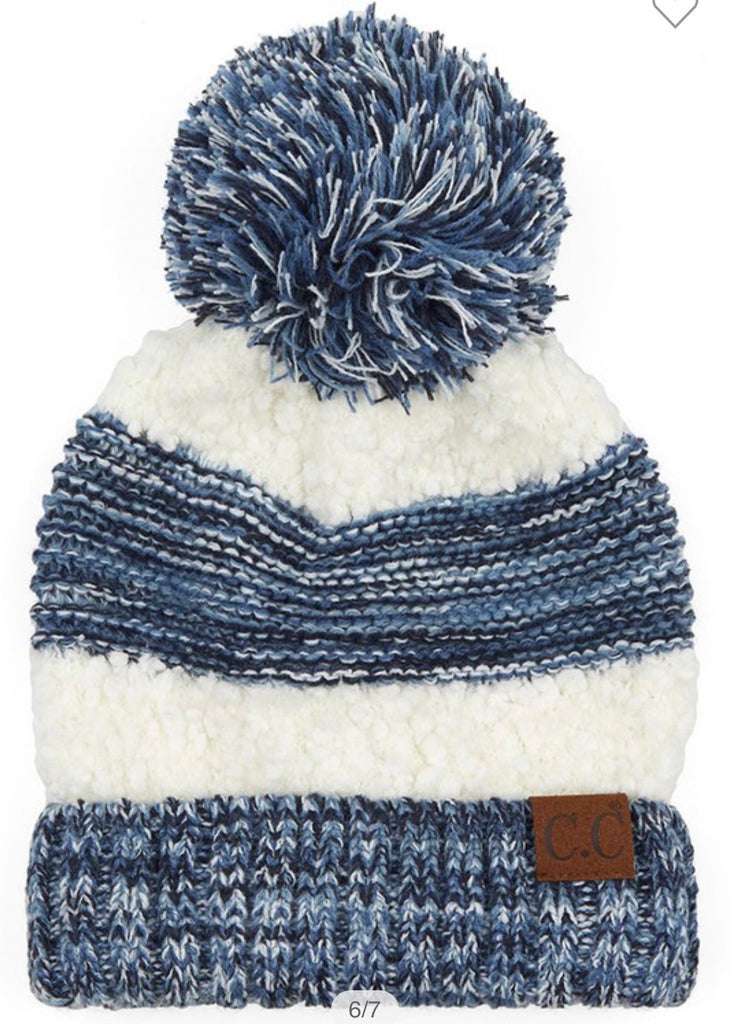 CC Popcorn Yarn Beanie with Pom (Multiple Colors)