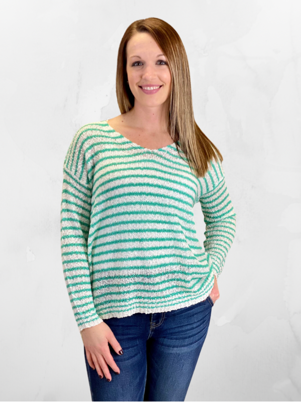 Ivory & Mint Striped Pullover Sweater