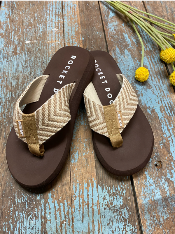 Rocket Dog Spotlight Beige Chevron Flip Flop