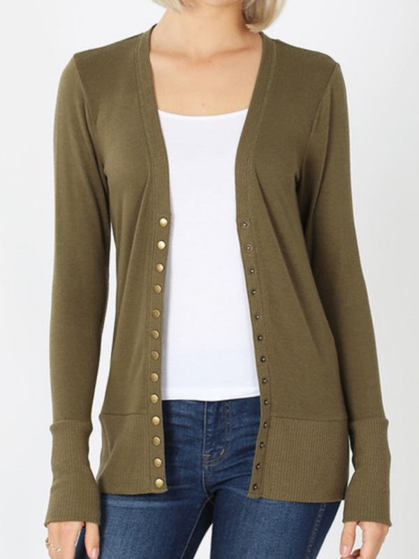 Snap Front Cardigan Curvy - Olive