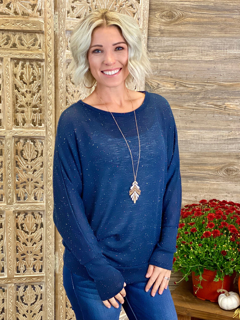 Navy Off The Shoulder Tunic Top