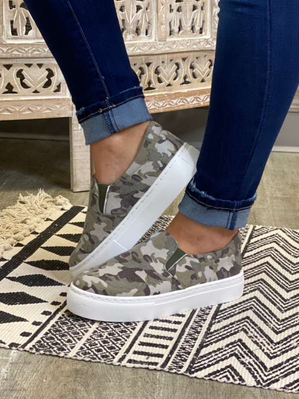 Khaki Camo Slip On Sneakers