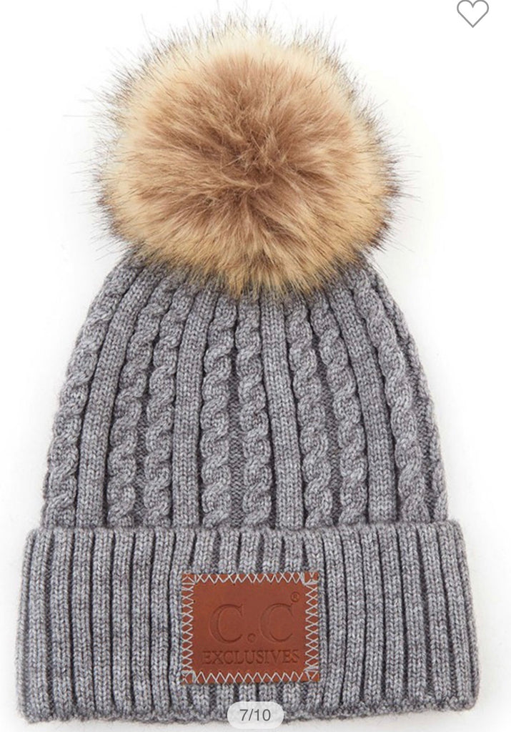 CC Double Braided Beanie with Pom (Multiple Colors)