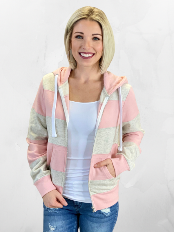 Blush & Oatmeal Fleece Colorblock Hoodie
