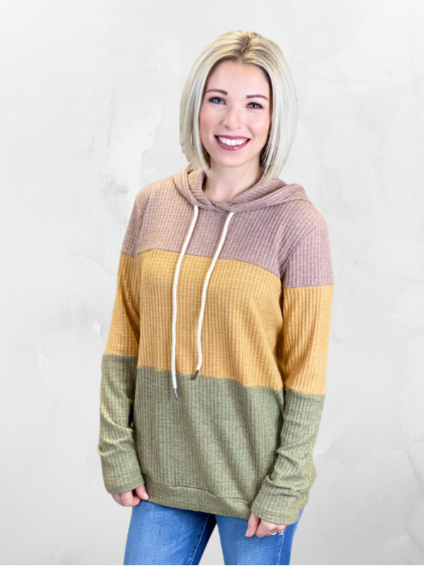 Olive Colorblock Waffle Hoodie