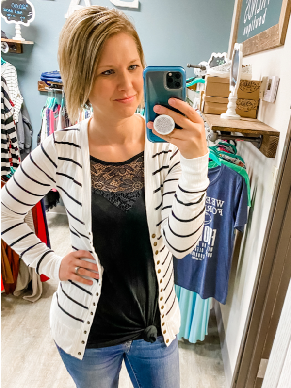 Striped Snap Front Cardigan - Ivory/Black
