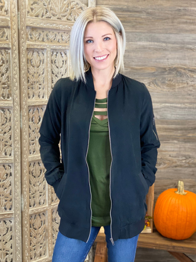 Black Long Bomber Jacket with Zipper Detail