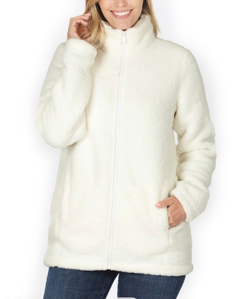 Doorbuster - Soft Sherpa Zipper Front Jacket - Ivory