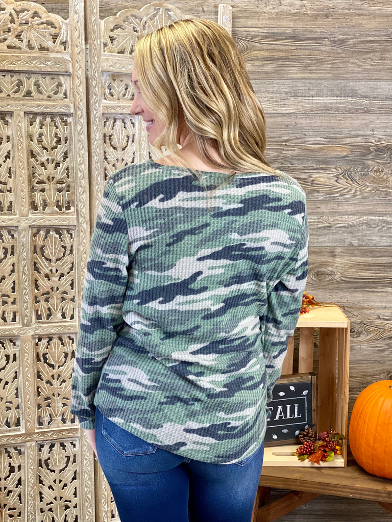 Olive Camouflage Print Thermal Top