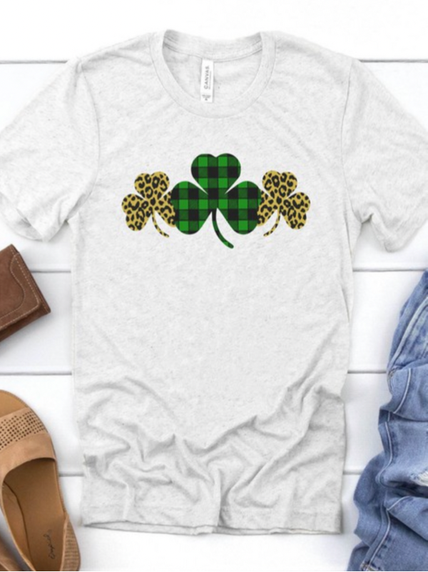 Leopard & Plaid Clovers Tee