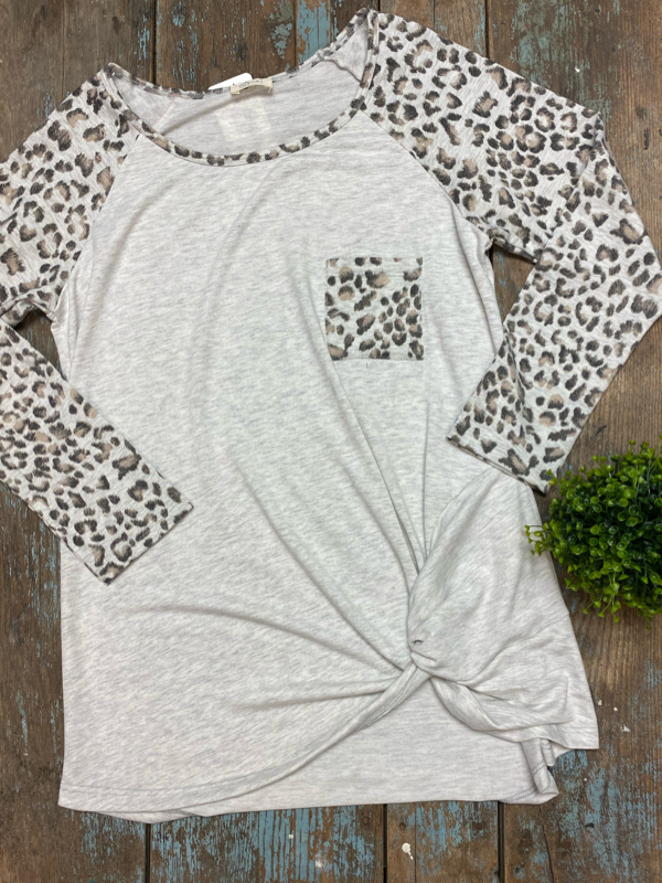 Heather Grey Animal Print Long Sleeve Top Curvy