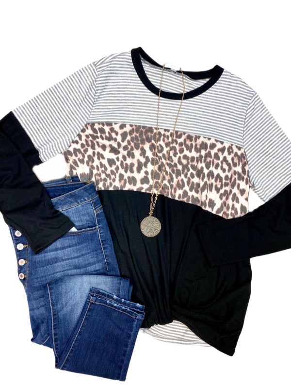 Black Leopard Print Twisted Front Top