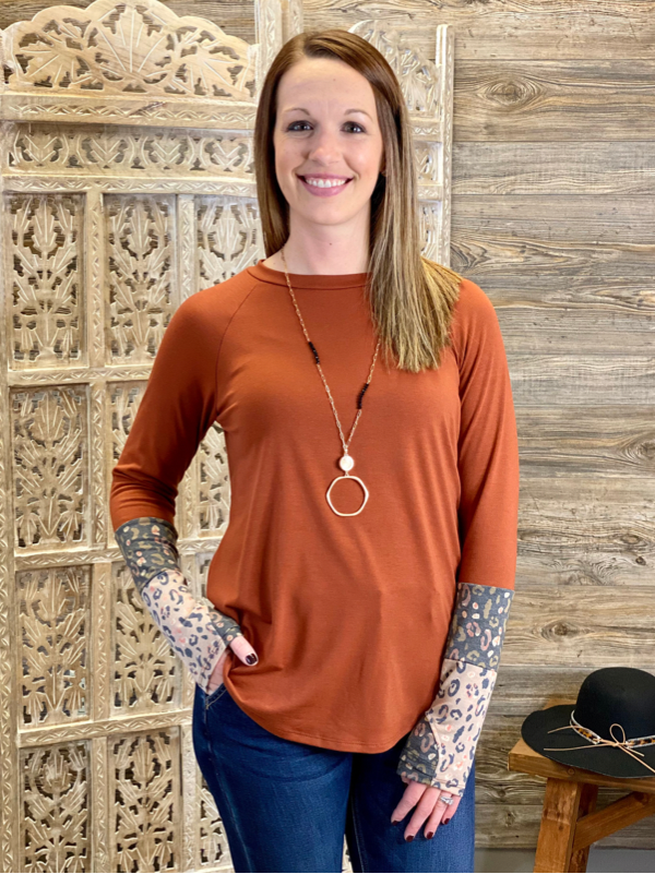 Rust Long Sleeve Top with Leopard Contrast