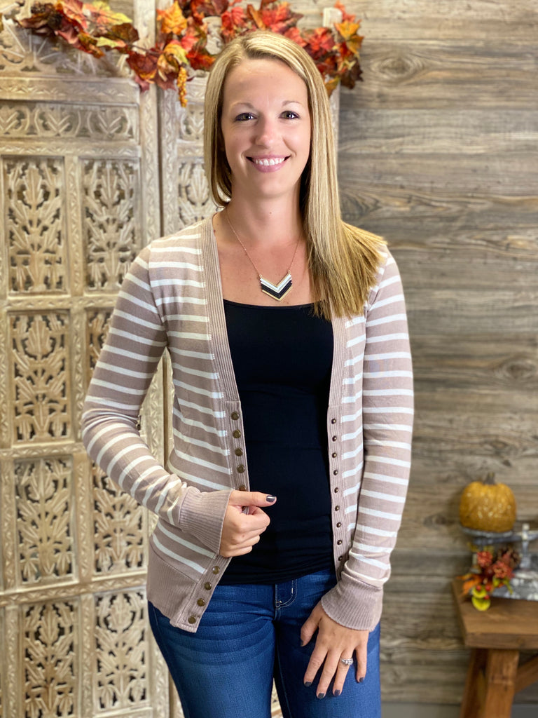 Mocha Striped Snap Front Cardigan