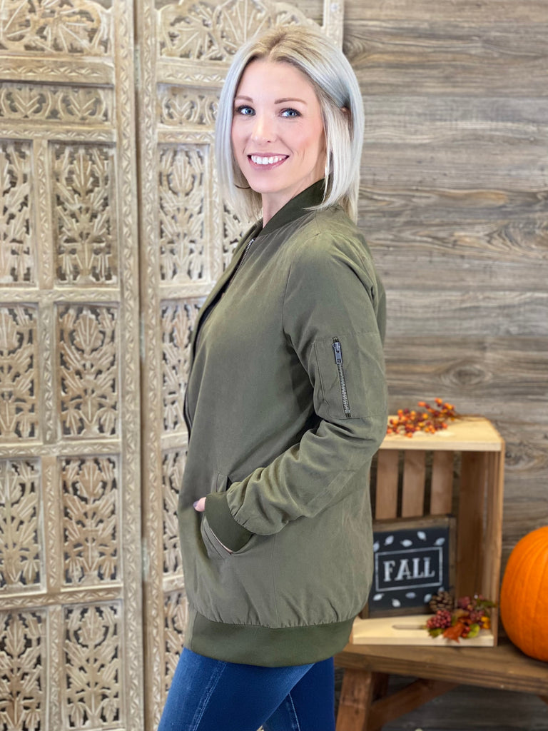 Olive Long Bomber Jacket with Zipper Detail